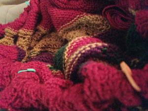 a jumbled up mess of a knitting project