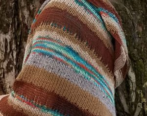 Close up view of Sedimentary Shawl pattern by Wendelika Cline