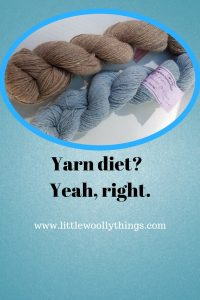 Yarn diet? Yeah, right. Blog post graphic.