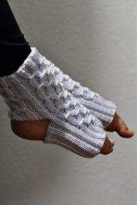 Balance Yoga Socks handknit pattern modeled on feet against shaded white background